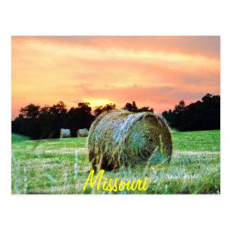haybales at sunset postcard