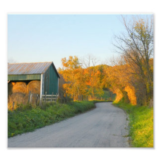 HayBales, Autumn and the Barn Photo Print