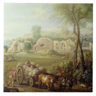 Haycart Passing a Ruined Abbey, c.1740-50 (oil on Ceramic Tile