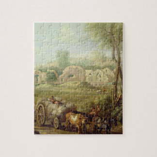 Haycart Passing a Ruined Abbey, c.1740-50 (oil on Puzzle