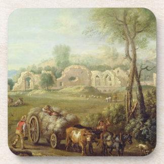 Haycart que pasa una abadía arruinada, c.1740-50 ( posavasos de bebida