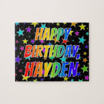 "[ Thumbnail: ""Hayden"" First Name, Fun ""Happy Birthday"" Jigsaw Puzzle ]"