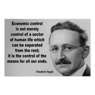 Hayek Economic Control Quote Poster
