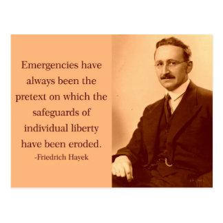 Hayek en emergencias tarjetas postales