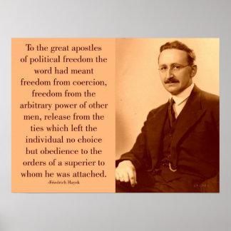 Hayek en la libertad póster