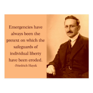 Hayek on Emergencies Post Cards