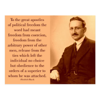 Hayek on freedom postcard