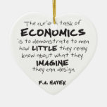 Hayek - The Curious Task of Economics Double-Sided Heart Ceramic Christmas Ornament