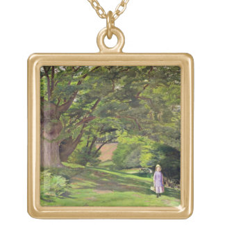 Hayes Common, 1852-53 (oil on canvas) Gold Plated Necklace