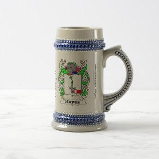 Hayes Family Crest Ceramic Stein Coffee Mugs