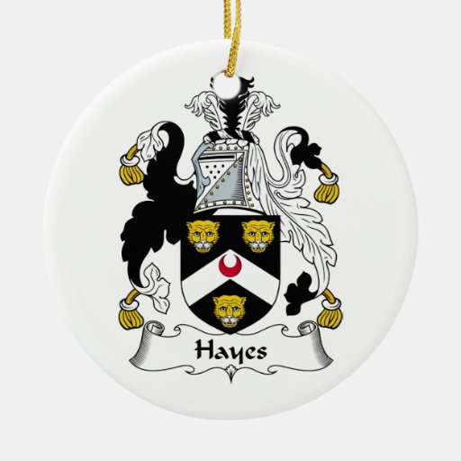 Hayes Family Crest Double-Sided Ceramic Round Christmas Ornament