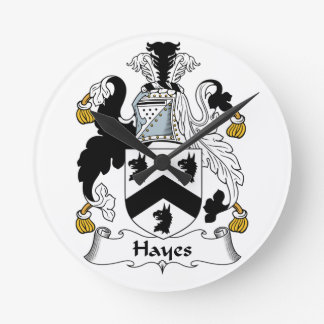 Hayes Family Crest Round Wallclock
