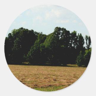 hayfield landscape classic round sticker