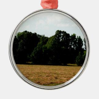 hayfield landscape metal ornament