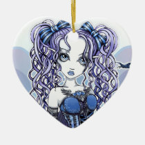 haylee, couture, fairy, gothic, cute, blue, violet, lavendar, pigtails, faery, fae, faerie, fantasy, art, myka, jelina, mika, big, eyed, faeries, Ornament with custom graphic design