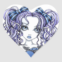 haylee, couture, fairy, gothic, cute, blue, violet, lavendar, pigtails, faery, fae, faerie, fantasy, art, myka, jelina, mika, big, eyed, faeries, Sticker with custom graphic design