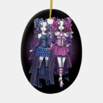 haylee, couture, fairy, maegan, pink, gothic, cute, blue, violet, lavendar, pigtails, faery, fae, faerie, fantasy, art, myka, jelina, mika, big, eyed, faeries, Ornament with custom graphic design