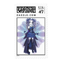 purple, butterfly, heart, tattoo, gothic, cute, blue, pigtails, fairy, faerie, faery, fae, fairies, ruffles, bows, corset, myka, jelina, art, fantasy, butterflies and moths, Stamp with custom graphic design