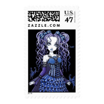 blue, tattoo, fairy, postage, heart, faerie, gothic, fae, fairies, faery, pixie, flowers, fantasy, myka, jelina, butterfly, butterflies and moths, Stamp with custom graphic design
