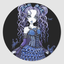 purple, butterfly, heart, tattoo, gothic, cute, blue, pigtails, fairy, faerie, faery, fae, fairies, ruffles, bows, corset, myka, jelina, art, fantasy, characters, Sticker with custom graphic design