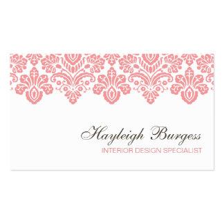 Hayleigh #1 Pink Damask Chic Business Card