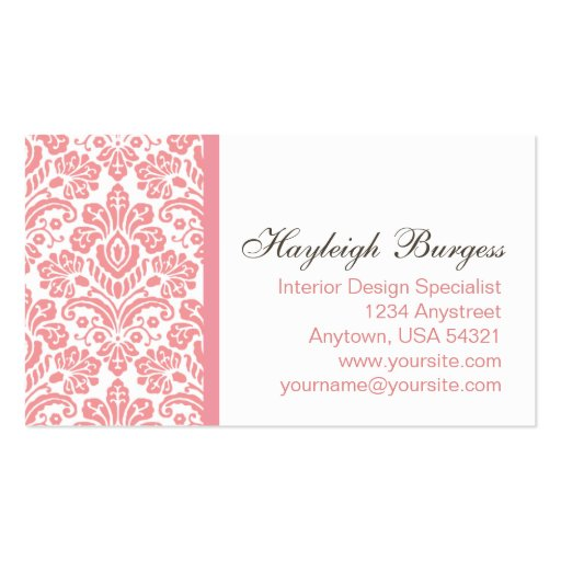Hayleigh #2 Pink Damask Chic Business Card