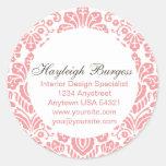 Hayleigh Pink Damask Chic Round Sticker