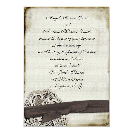 Hayley Cocoa Vintage Lace Invitation
