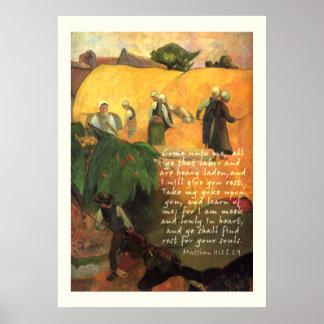 Haymaking de Paul Gauguin con el cristiano del ver Posters