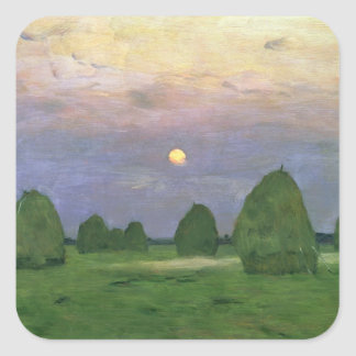 Hayricks at Dusk, 1899 Square Sticker