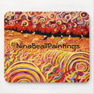 """Hayrolls with Swirling Stars"" by Nina Beall Mouse Pad"