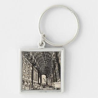 Hays Galleria London Sketch Silver-Colored Square Keychain