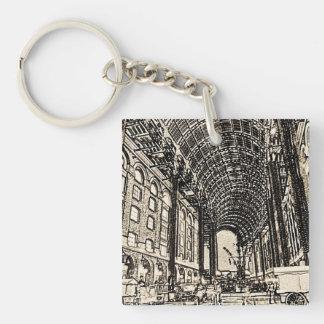 Hays Galleria London Sketch Single-Sided Square Acrylic Keychain