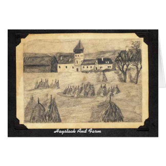 Haystack And Farm Card