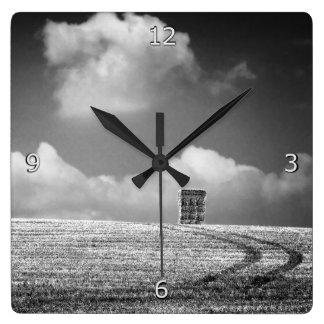 Haystack And Tracks minimalist Square Wall Clock