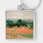 Haystack at Giverny, Claude Monet Silver-Colored Square Keychain