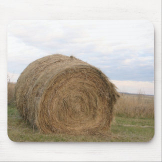 Haystack in a field on farm photography mousepads