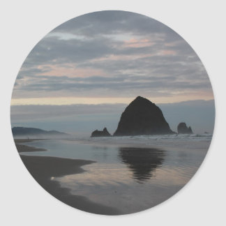 Haystack Rock at Cannon Beach Classic Round Sticker