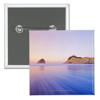 Haystack Rock At Dawn Blurred Blue Purple Waves 2 Inch Square Button