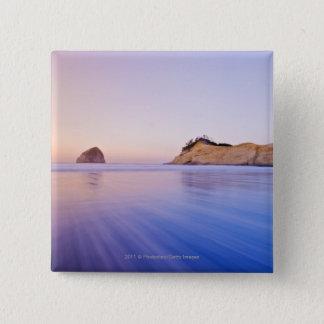 Haystack Rock At Dawn Blurred Blue Purple Waves Button