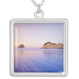 Haystack Rock At Dawn Blurred Blue Purple Waves Silver Plated Necklace