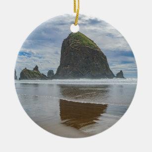 Haystack Rock, Cannon Beach, Oregon Ceramic Ornament