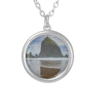 Haystack Rock, Cannon Beach, Oregon Round Pendant Necklace