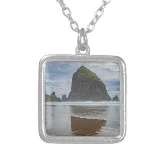 Haystack Rock, Cannon Beach, Oregon Square Pendant Necklace