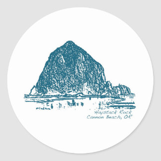 Haystack Rock Illustration Classic Round Sticker