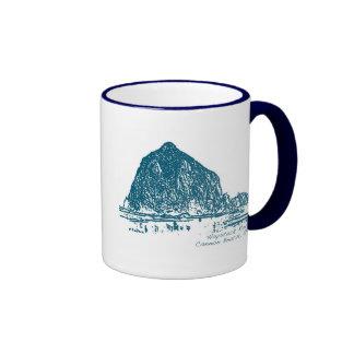 Haystack Rock Illustration Ringer Coffee Mug