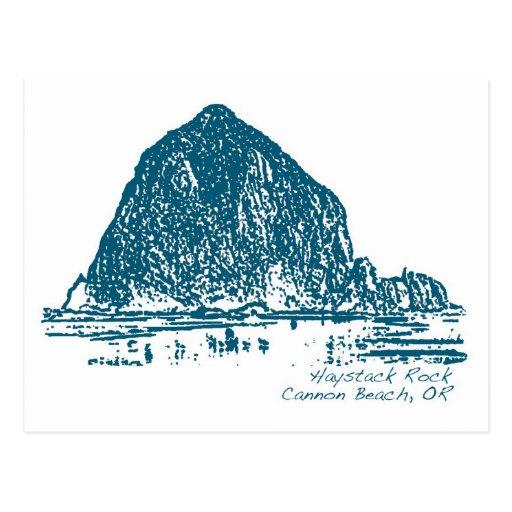 Haystack Rock Illustration Postcard