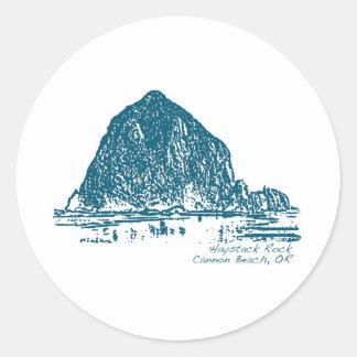 Haystack Rock Illustration Round Stickers