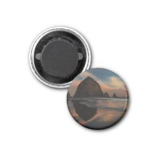Haystack Rock Painting 1 Inch Round Magnet