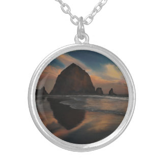 Haystack Rock Painting Round Pendant Necklace